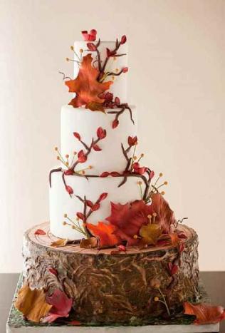 Красивые фото свадебного торта в осеннем стиле (4)