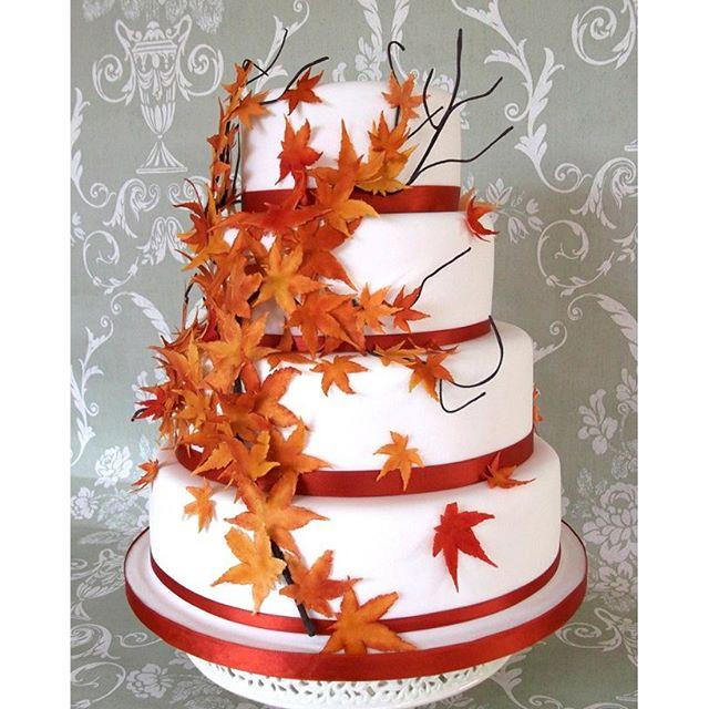 Красивые фото свадебного торта в осеннем стиле (7)