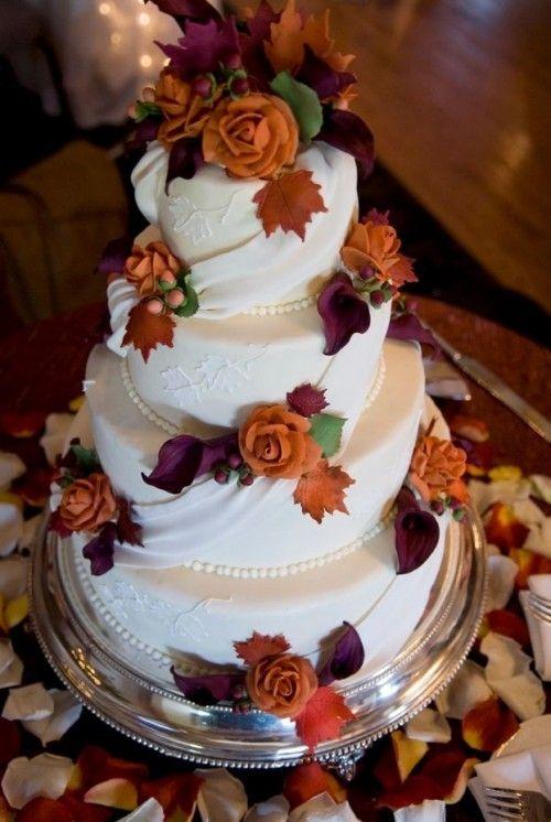Красивые фото свадебного торта в осеннем стиле (9)