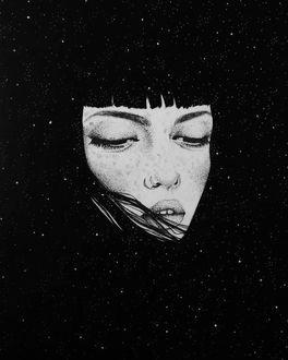Красивые черно-белые рисунки про грусть010
