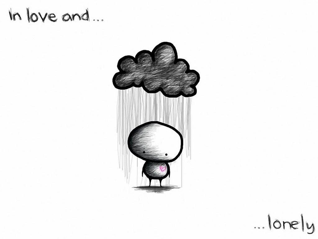 Красивые черно-белые рисунки про грусть025