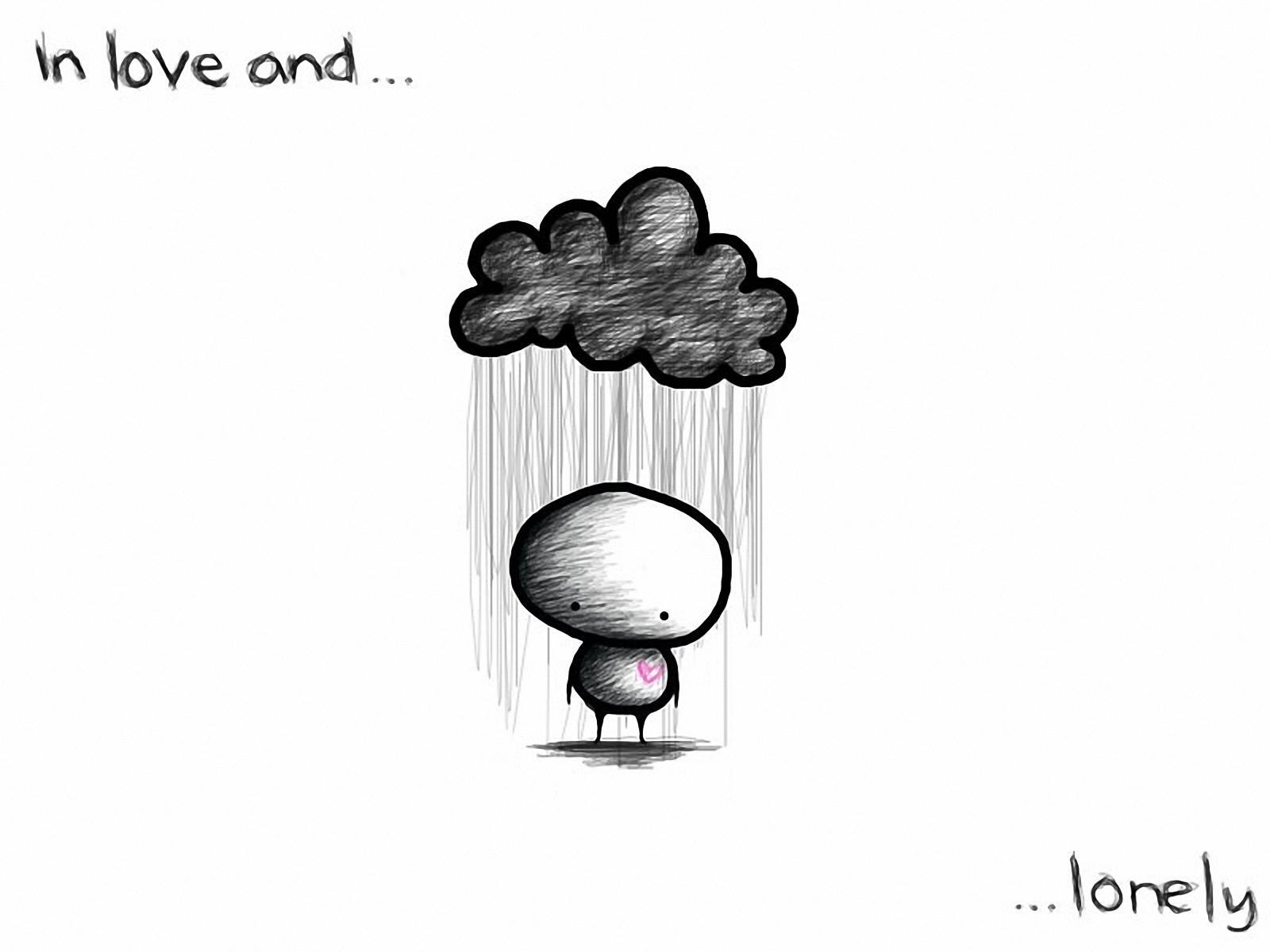 Красивые черно белые рисунки про грусть025