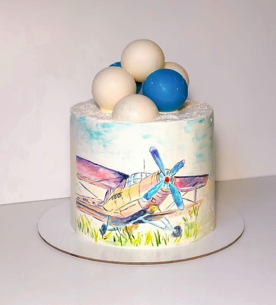 Красивый торт с рисунком самолета001