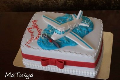 Красивый торт с рисунком самолета004