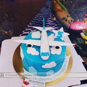 Красивый торт с рисунком самолета008