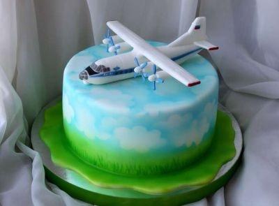 Красивый торт с рисунком самолета026