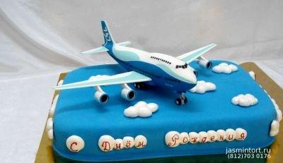 Красивый торт с рисунком самолета027