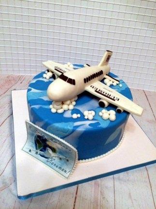 Красивый торт с рисунком самолета029