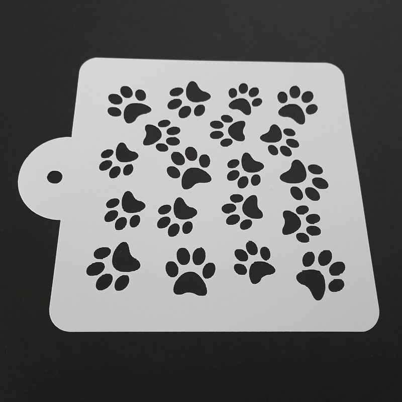 Красивый трафарет лапки собаки (13)