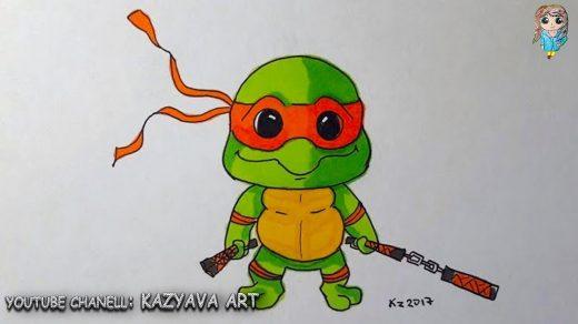 Микеланджело рисунки карандашом для детей019
