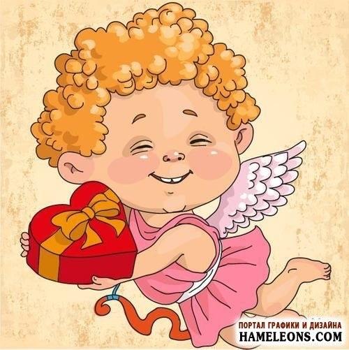 Милые картинки ангелочков с сердечками004