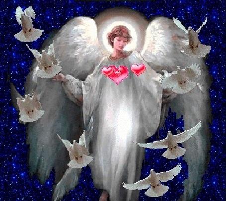 Милые картинки ангелочков с сердечками005