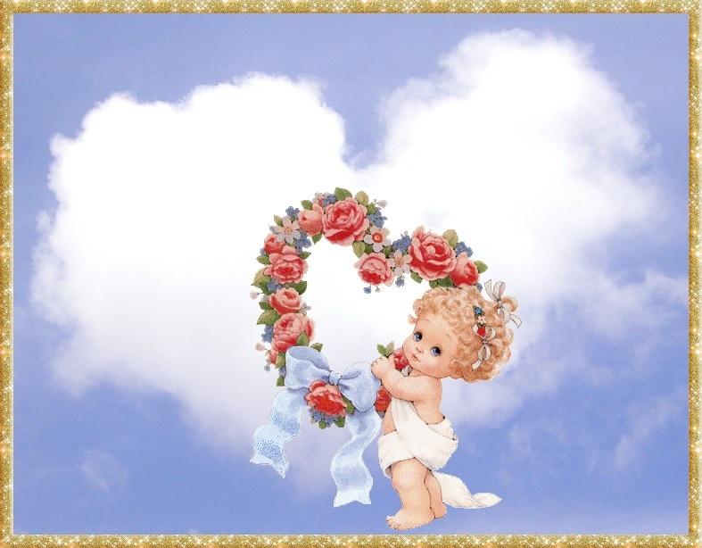 Милые картинки ангелочков с сердечками007