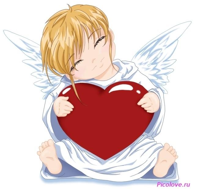 Милые картинки ангелочков с сердечками011