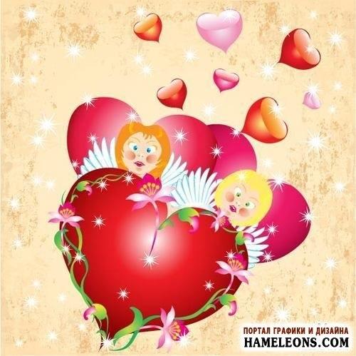Милые картинки ангелочков с сердечками016
