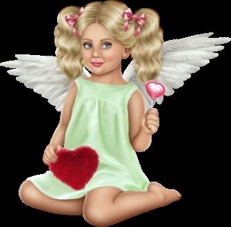 Милые картинки ангелочков с сердечками017