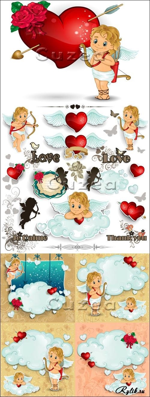 Милые картинки ангелочков с сердечками018