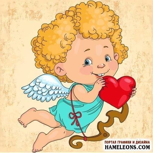 Милые картинки ангелочков с сердечками022