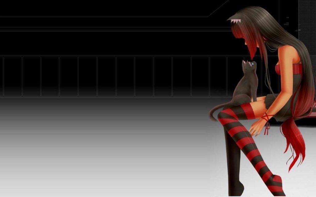 Милые картинки аниме кошечки девушки015