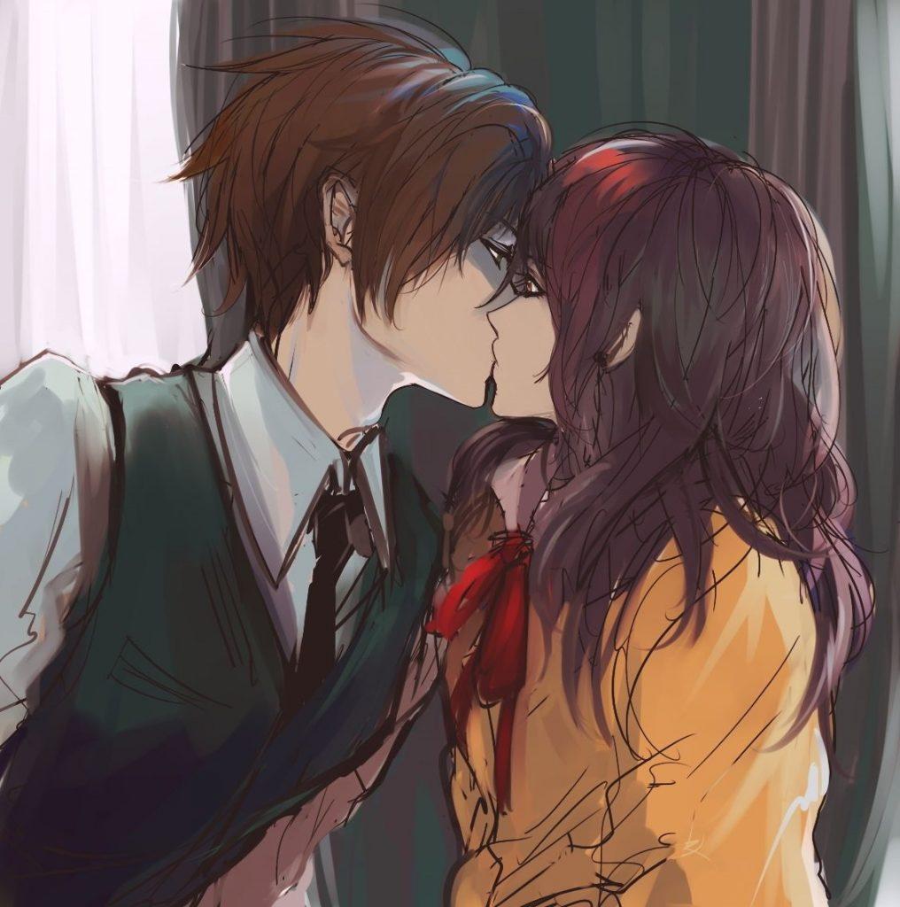 Милые картинки аниме неожиданный поцелуй002