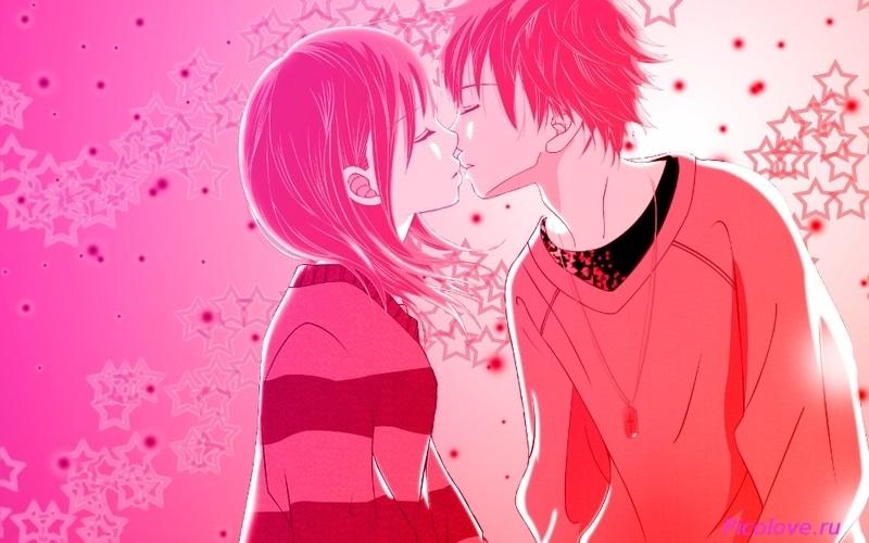 Милые картинки аниме неожиданный поцелуй003