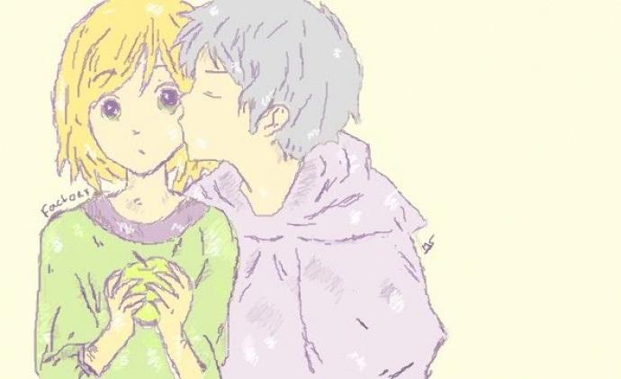 Милые картинки аниме неожиданный поцелуй008