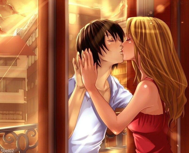 Милые картинки аниме неожиданный поцелуй013