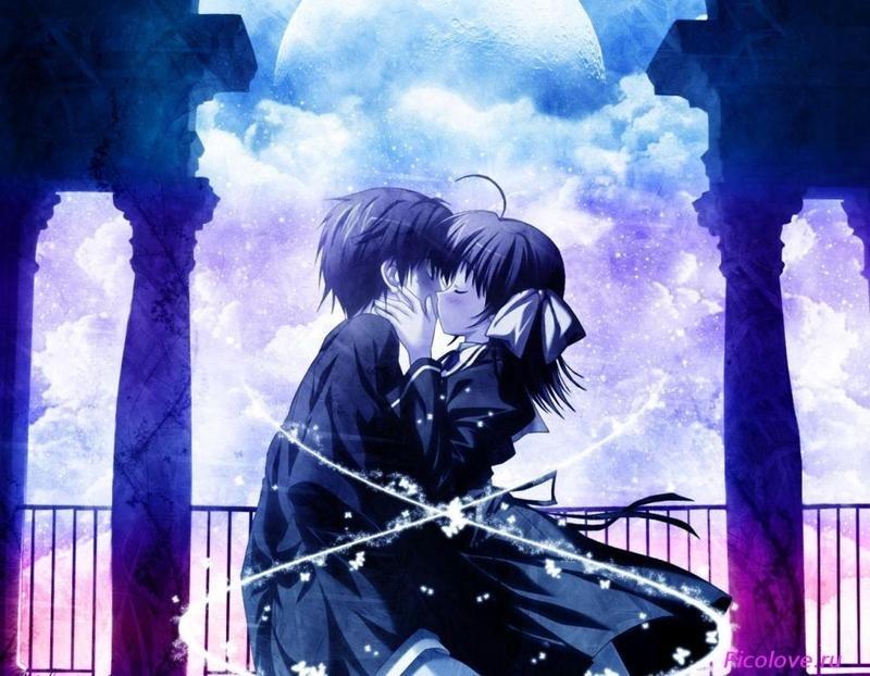 Милые картинки аниме неожиданный поцелуй019