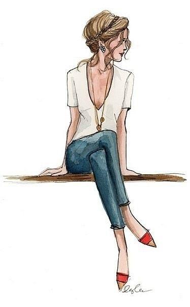 Модные девушки нарисованные картинки002