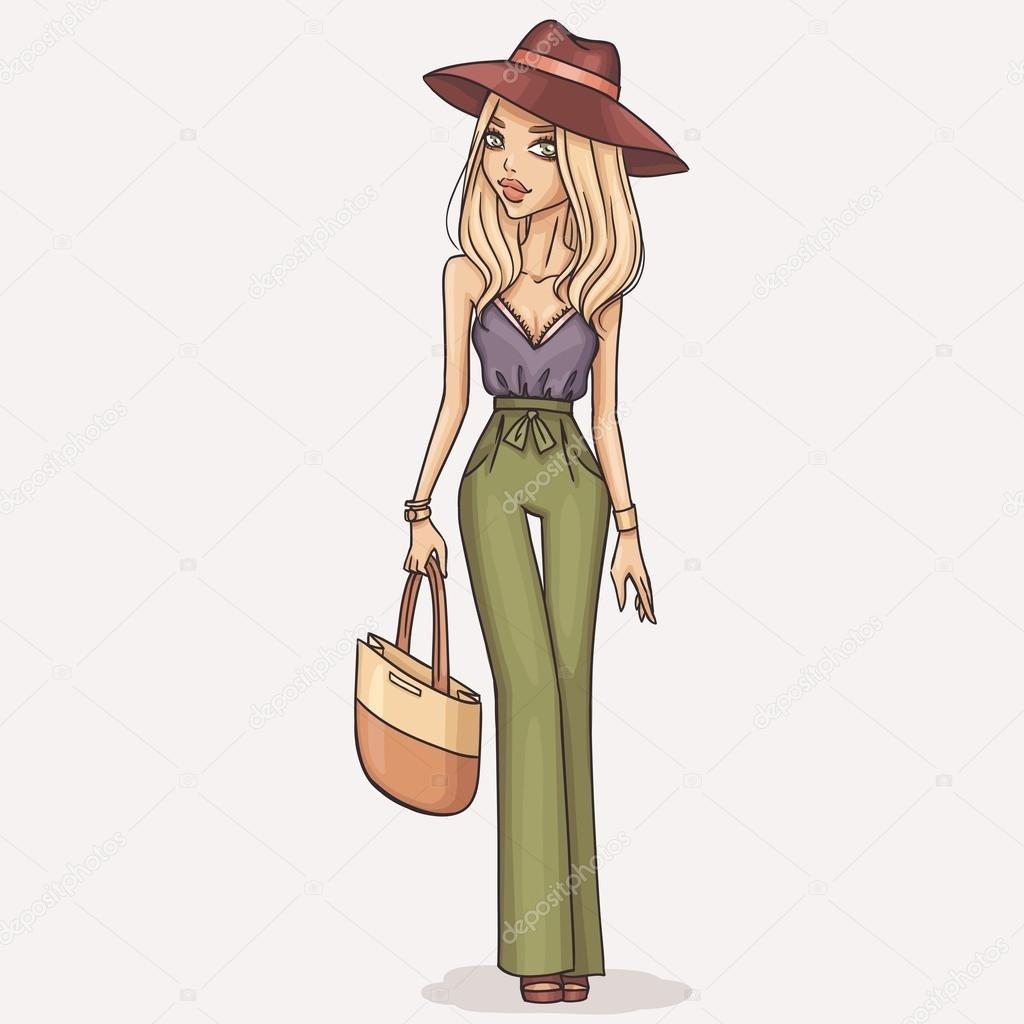 Модные девушки нарисованные картинки003