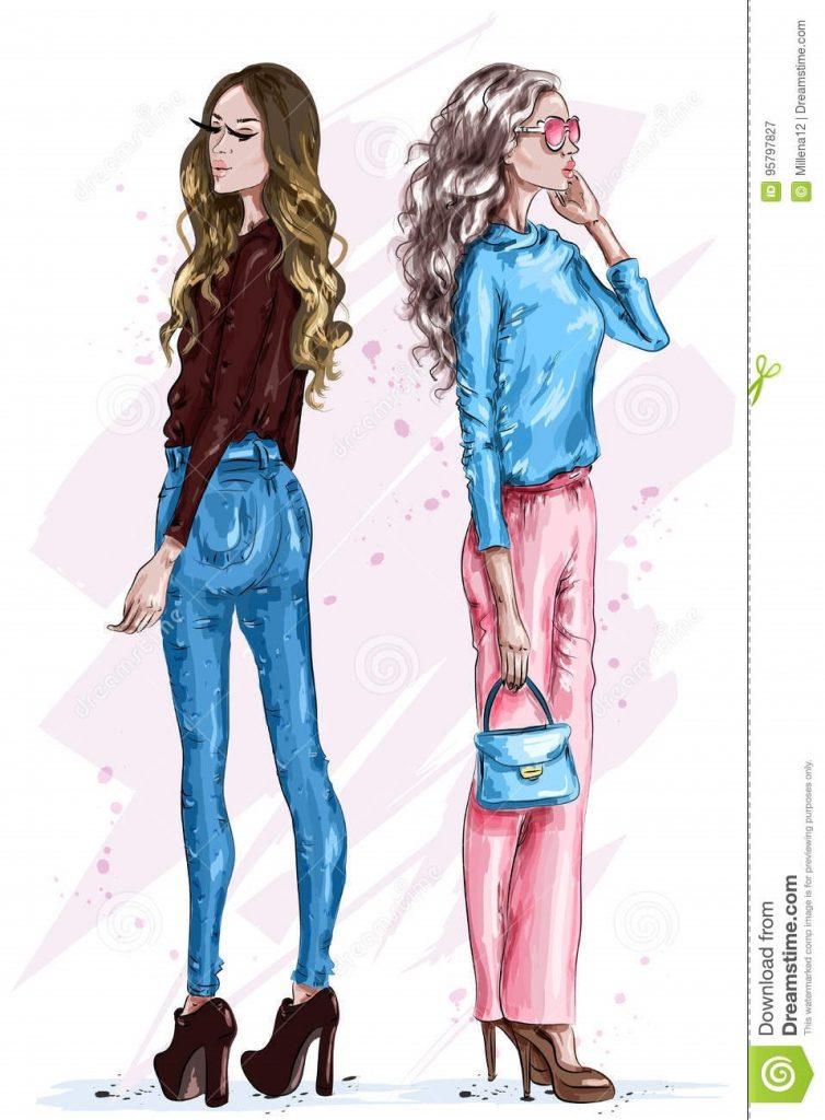 Модные девушки нарисованные картинки004
