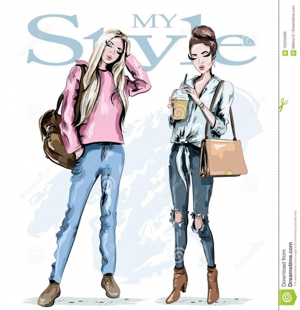 Модные девушки нарисованные картинки010
