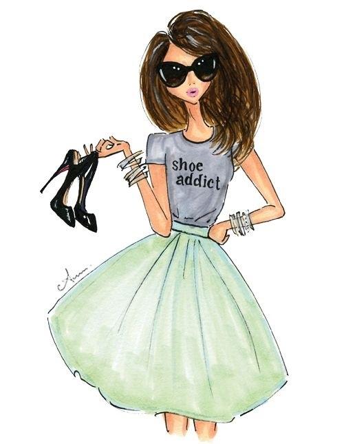 Модные девушки нарисованные картинки012