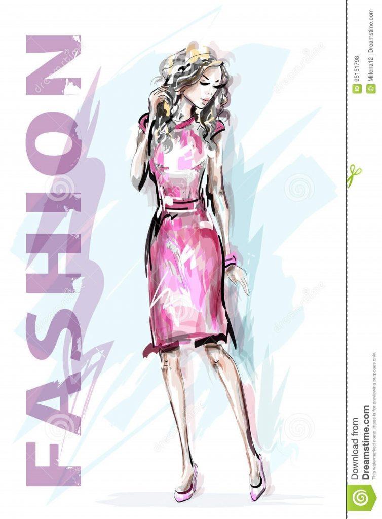 Модные девушки нарисованные картинки014