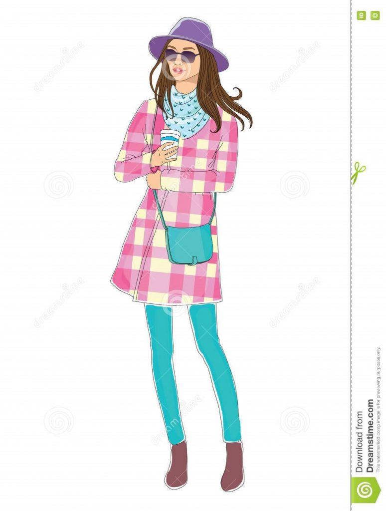 Модные девушки нарисованные картинки015
