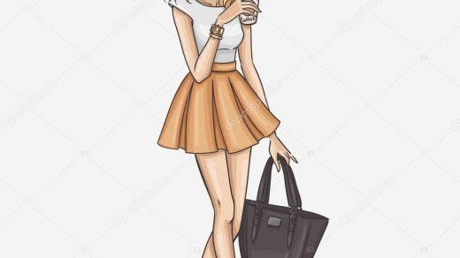 Модные девушки нарисованные картинки020