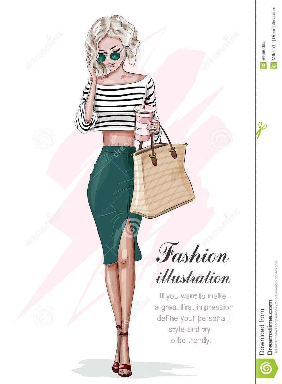 Модные девушки нарисованные картинки021