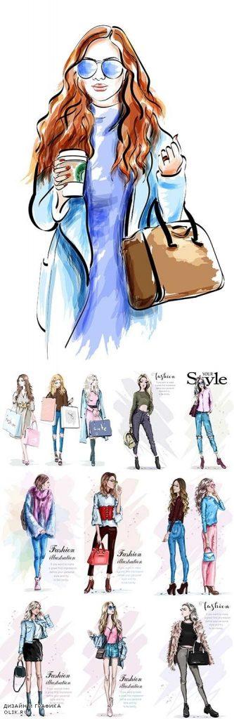 Модные девушки нарисованные картинки024