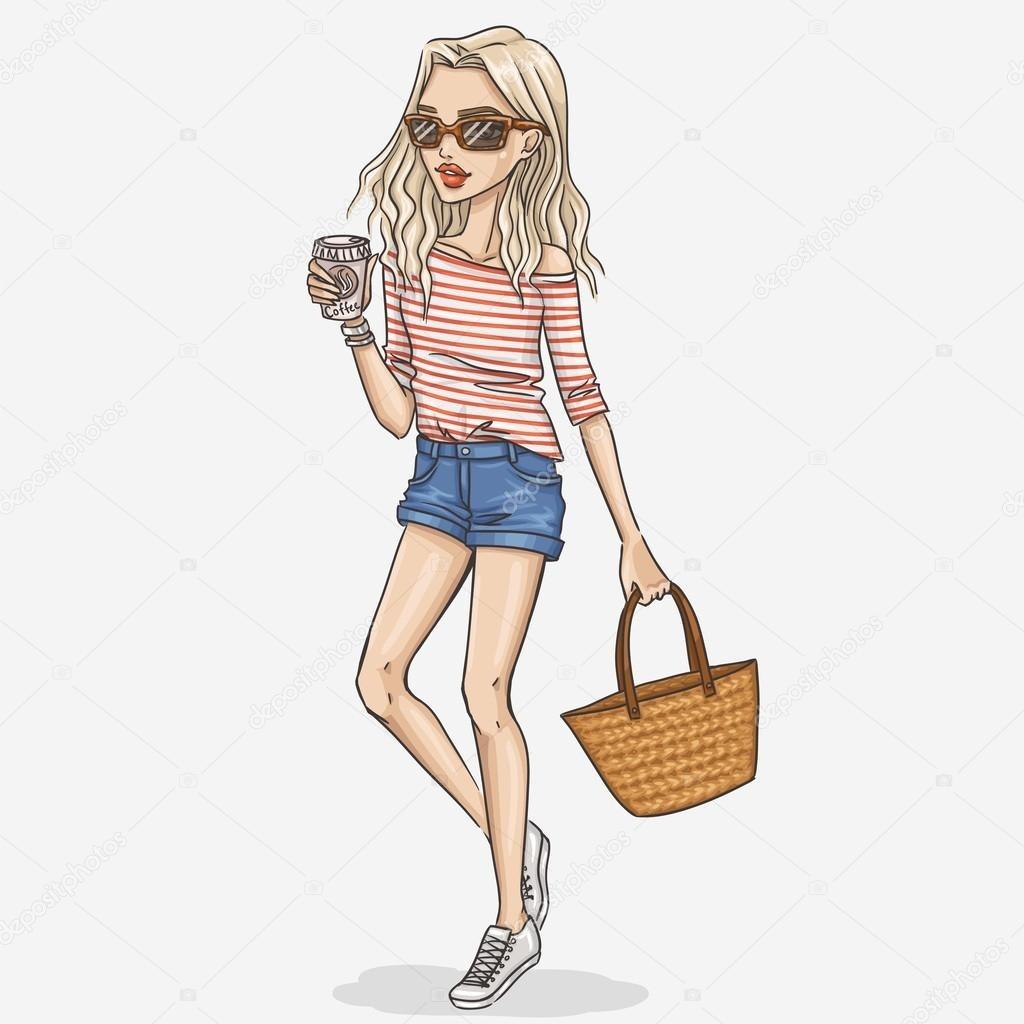Модные девушки нарисованные картинки025