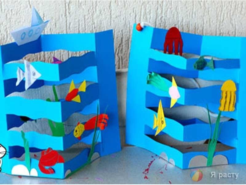 Морской пейзаж поделка для детей008