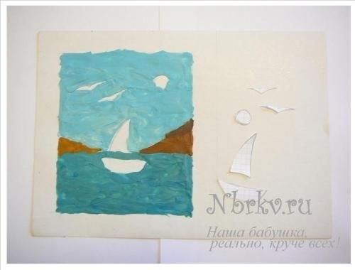 Морской пейзаж поделка для детей016