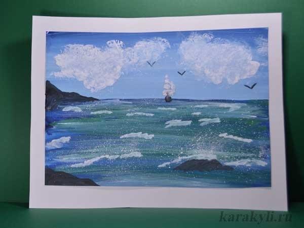Морской пейзаж поделка для детей018