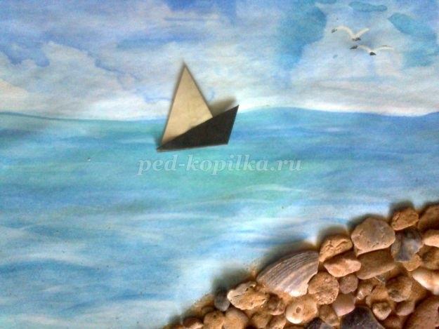 Морской пейзаж поделка для детей023