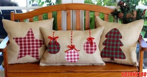Новогодние наволочки на подушки своими руками001