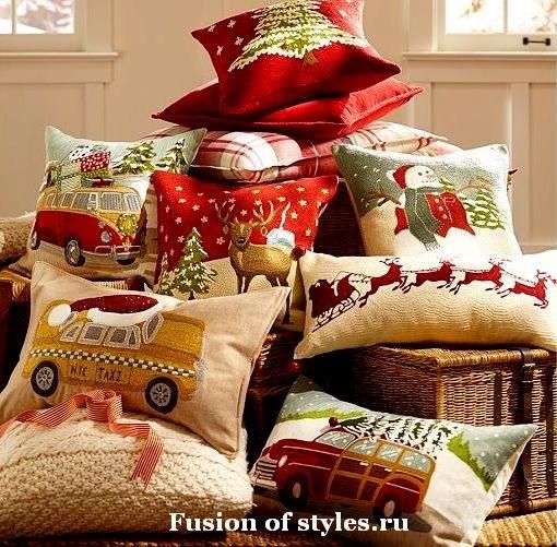 Новогодние наволочки на подушки своими руками003