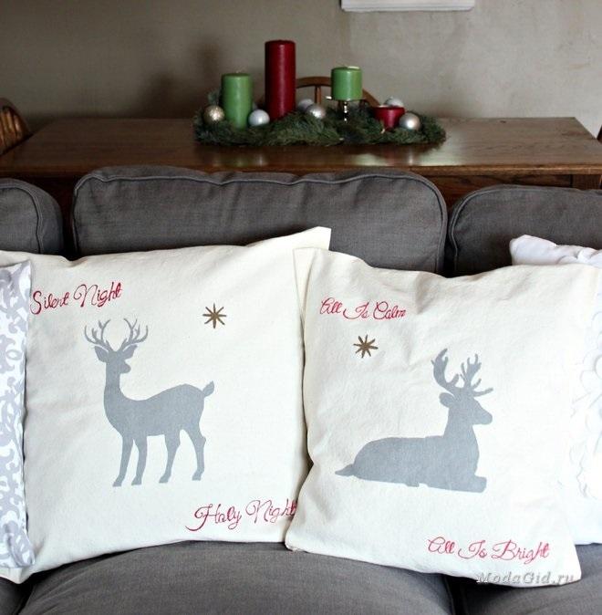 Новогодние наволочки на подушки своими руками010