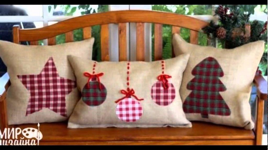 Новогодние наволочки на подушки своими руками022