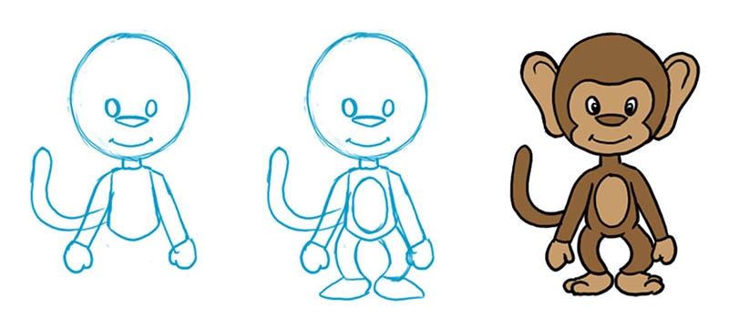 Обезьянки картинки для детей нарисованные013