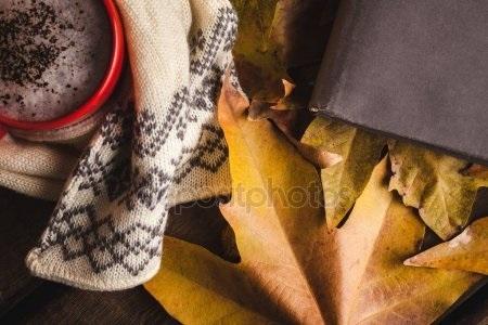 Осенние листья и кофе картинки красивые и милые003