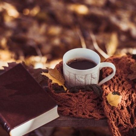 Осенние листья и кофе картинки красивые и милые005